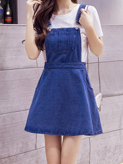 Blue Fit & Flare Above Knee Plus Size Denim Dress for Casual