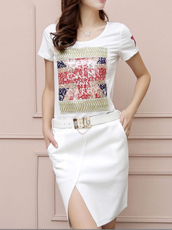White Colorful Above Knee Sheath Plus Size Dress for Casual Party Office  Seasonal Discount