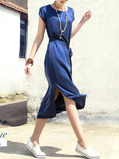 Blue Midi Shift Plus Size Dress for Casual Party Beach  Seasonal Discount