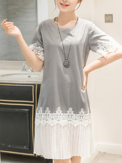 Grey White Knee Length Shift Plus Size Lace Dress for Casual Party  Seasonal Discount