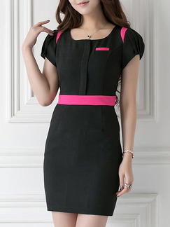 Black Pink Above Knee Plus Size Bodycon Dress for Casual Party Evening Office  Seasonal Discount