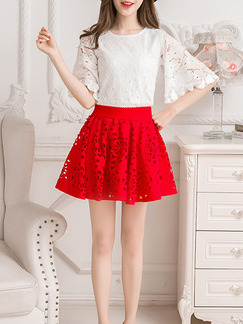White Red Two Piece Above Knee Plus Size Fit & Flare Lace Dress for Casual Party  Seasonal Discount
