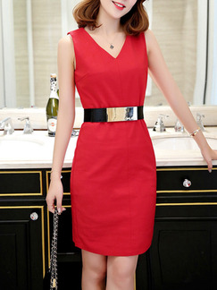 Red Above Knee V Neck Bodycon Plus Size Dress for Office Party Evening Cocktail  Seasonal Discount