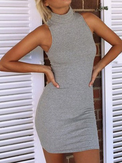 Grey Above Knee Plus Size Bodycon Halter Dress for Casual Party  Seasonal Discount