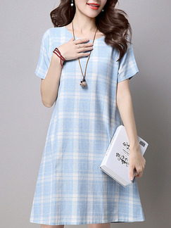 Blue White Above Knee Plus Size Shift Dress for Casual