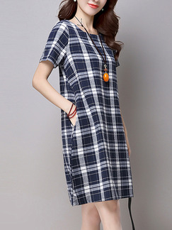 Blue White Grey Above Knee Plus Size Shift Dress for Casual