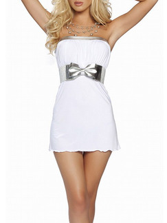 White Silver Above Knee Bodycon Strapless Dress for Party Evening Cocktail