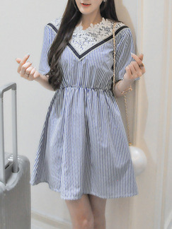 Blue White Black Above Knee Fit & Flare Lace Dress for Casual