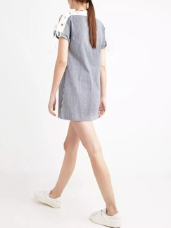 White Blue Above Knee Shift Dress for Casual  Seasonal Discount