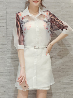 White Brown Colorful Two Piece Shift Above Knee Plus Size Shirt Dress for Casual Party Evening Office  Seasonal Discount