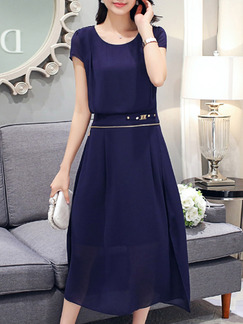 Blue Midi Plus Size Dress for Casual Party Evening Office  Seasonal Discount