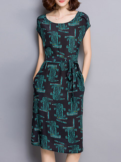 Black Green Midi Dress for Casual Party  Seasonal Discount