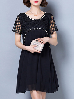 Black White Above Knee Plus Size Shift Lace Dress for Party Evening Cocktail