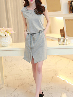 Grey Above Knee Plus Size Shift Dress for Casual  Seasonal Discount