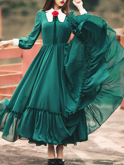 Green Bubble Sleeve Contrast Linking Pleated Maxi Fit & Flare Plus Size Long Sleeve Dress for Party Evening Cocktail Ball
