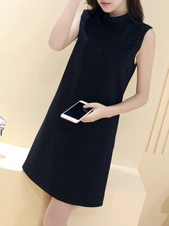 Black Above Knee Plus Size Shift Dress for Casual Party Evening