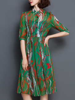 Green Red Knee Length Fit & Flare Plus Size Shirt Dress for Casual Party Evening
