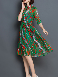 Green Red Knee Length Fit & Flare Plus Size Shirt Dress for Casual Party Evening  Seasonal Discount