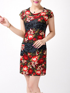 Black Red Colorful Above Knee Sheath Plus Size Floral Dress for Casual Party