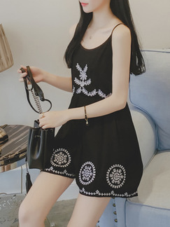 Black White Above Knee Fit & Flare Slip Dress for Casual Party