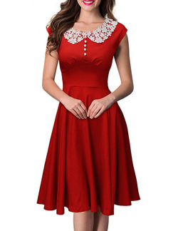 Red White Knee Length Fit & Flare Lace Dress for Casual Party Evening