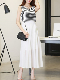 Black White Maxi Dress for Casual Party Evening