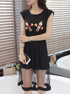 Black Colorful Knee Length Plus Size Dress for Casual Party