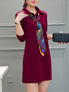 Red Above Knee Plus Size Shirt Shift Long Sleeve Dress for Casual Party Office