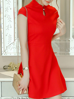 Red Fit & Flare Above Knee Plus Size Dress for Casual Party Evening Seasonal Discount