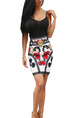Black White Colorful Above Knee Floral V Neck Bodycon Plus Size Dress for Party Evening Cocktail