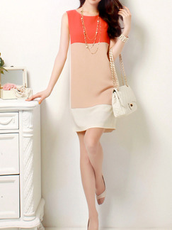Orange Nude White Above Knee Plus Size Shift Dress for Casual Party Office