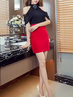 Black Red Above Knee Sheath Halter Off Shoulder Dress for Party Evening Cocktail