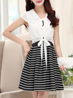 Black White Above Knee Fit & Flare Shirt Plus Size Dress for Casual Party Office  Seasonal Discount