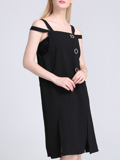 Black Knee Length Slip Shift Dress for Casual Party Evening