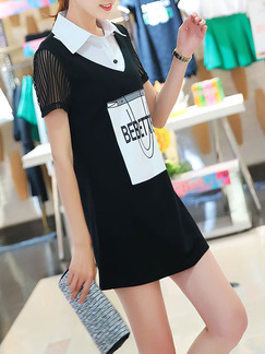 Black White Above Knee Plus Size Shirt Shift Dress for Casual Party Office  Seasonal Discount