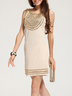 Beige Golden Above Knee Sheath Dress for Party Evening Cocktail