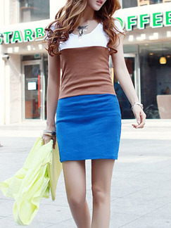 White Brown Blue Above Knee Plus Size Bodycon Dress for Casual Party  Seasonal Discount
