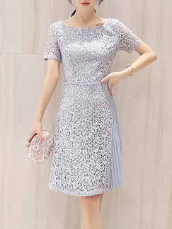 Blue Knee Length Shift Plus Size Floral Lace Dress for Party Evening Cocktail
