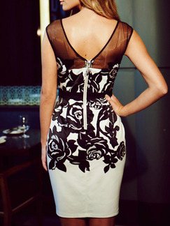 Black White Above Knee Bodycon Floral Dress for Party Evening Cocktail
