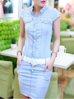 Blue White Above Knee Denim Plus Size Lace Bodycon Shirt Dress for Casual Office  Seasonal Discount