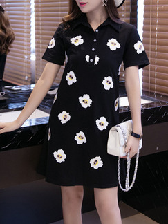 Black White Shirt Above Knee Shift Floral Dress for Casual  Seasonal Discount