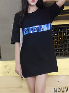 Black Blue T-Shirt Above Knee Shift Dress for Casual