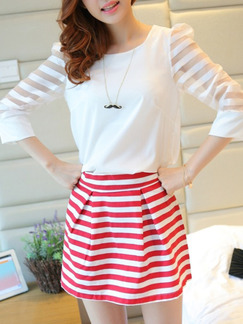 Red White Above Knee Two Piece Plus Size Dress for Casual Party  Seasonal Discount