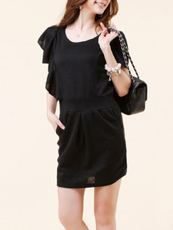 Black Above Knee Sheath Dress for Casual Party Evening Office
