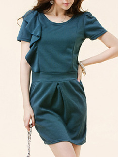 Blue Above Knee Sheath Dress for Casual Party Evening Office