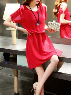 Red Above Knee Fit & Flare Plus Size Dress for Casual Party Seasonal Discount