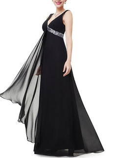Black Maxi V Neck Backless Plus Size Dress for Party Evening Cocktail Prom