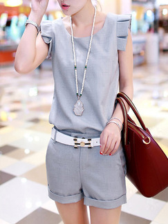 Grey Two Piece Shirt Shorts Plus Size Jumpsuit for Casual Party  Seasonal Discount