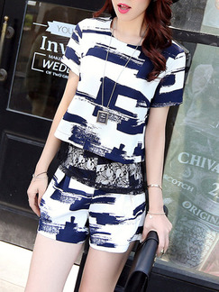 Blue White Two Piece Lace Shirt Shorts Plus Size Jumpsuit for Casual Party