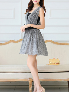 White Black Short Fit  Flare Dress for Casual Party Evening Seasonal Discount